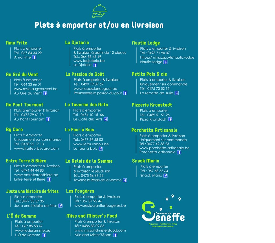 plats à emporter Seneffe mars 2021